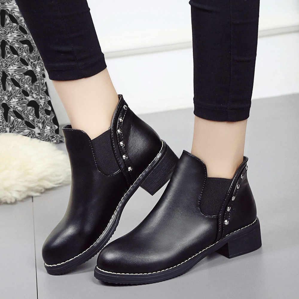 Rebites botas de tornozelo para mulher casual plana martain botas outono inverno couro dedo do pé redondo sapatos de inverno botines mujer 2019