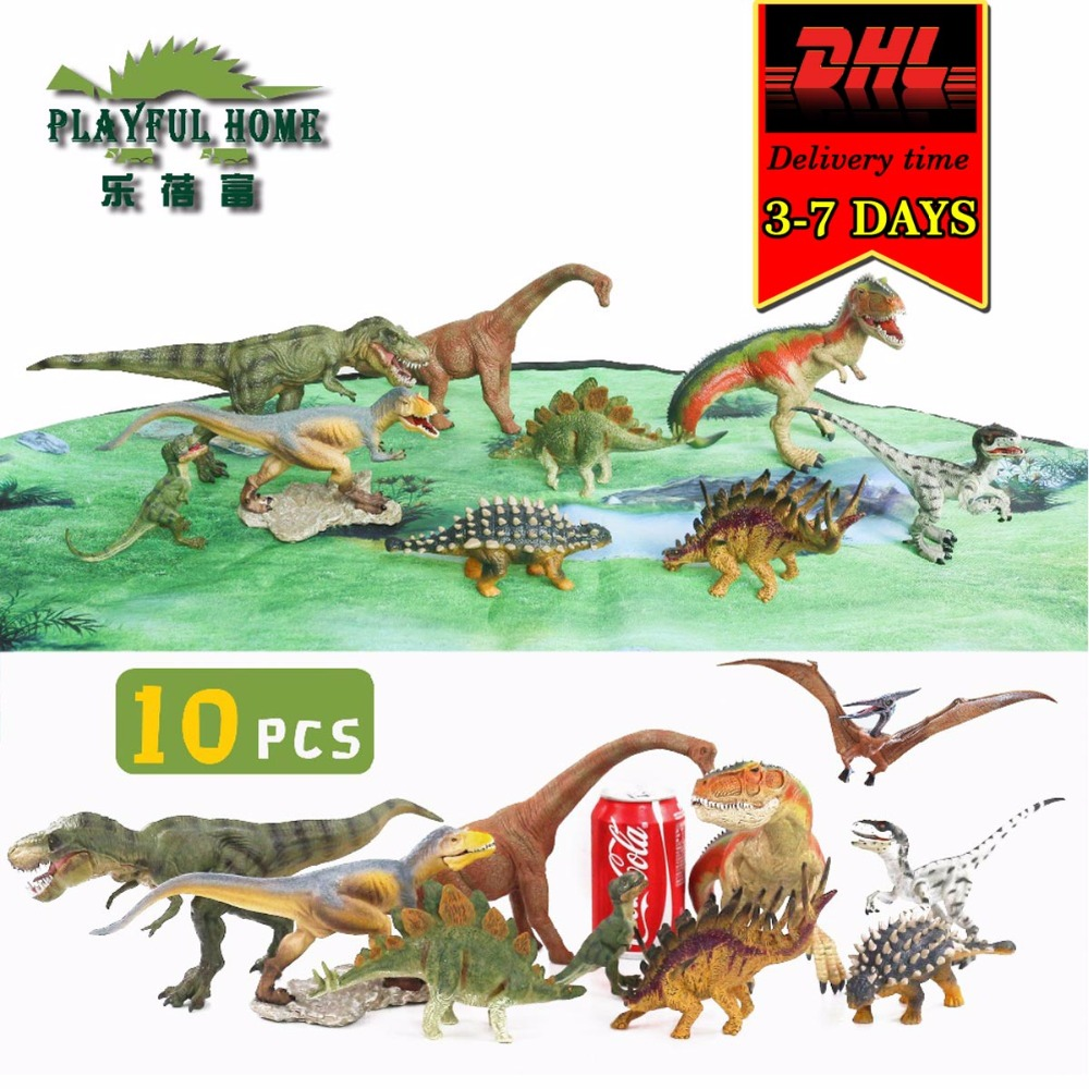 10pcs Dinosaur Model Set Large Good PVC Anime Dinosaur Action Figures Jurassic Toys For kids Children Figma Tyrannosaurus Rex jurassic velociraptor dinosaur pvc action figure model decoration toy movie jurassic hot dinosaur display collection juguetes
