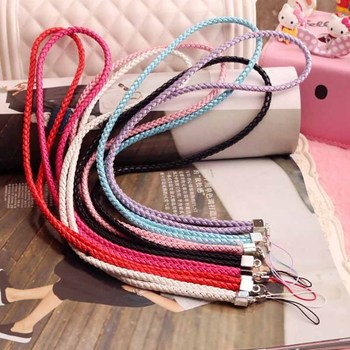 50pcs Long woven leather rope camera hanging neck lanyard mobile phone shell lanyard candy color certificate lanyard фото