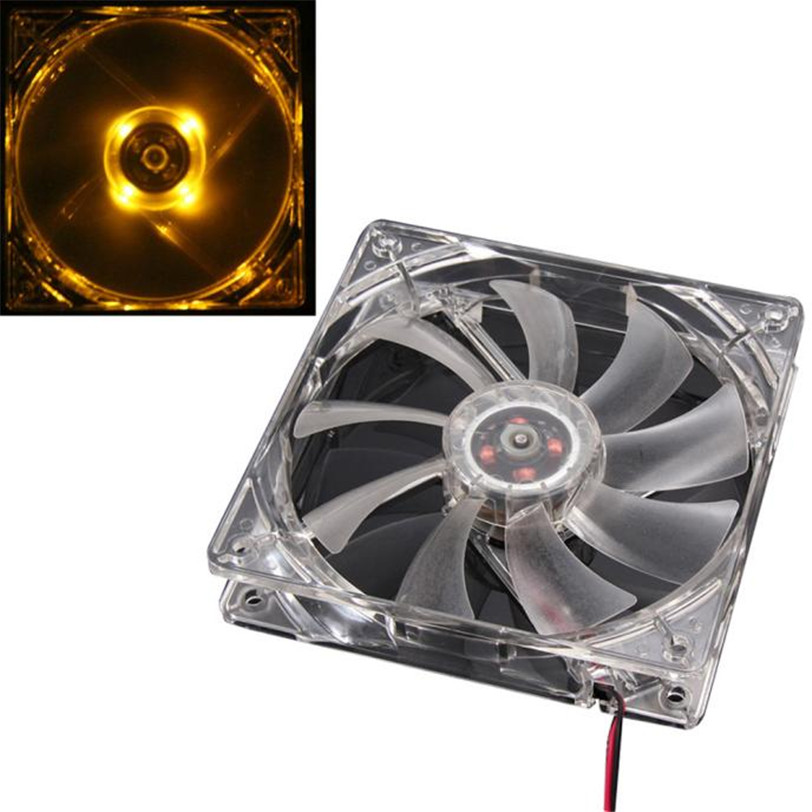 Cooling Fan Mod Orange Quad 4-LED Light Neon Clear 120mm PC Computer Case Refrigeracion Jul24 Professional Drop Shipping hot sale binmer 120 x 120 x 25mm 4 pin computer fan red quad 4 led light neon clear 120mm pc computer case cooling fan mod
