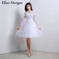 Short Simple Summer Beach Wedding Dresses 2018 Sexy V Neck Knee Length Lace Appliques Tulle Cheap