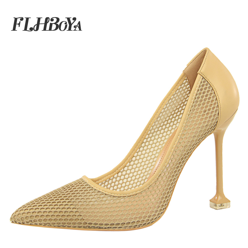 2018 Summer Fashion Mesh High Heels Womens Pumps Pointed Toe Thin Heel Shoes White Shallow Party Wedding Slip-on Ladies Pumps 2018 women yellow high heel pumps pointed toe metal heels wedding heel dress shoes high quality slip on blade heel shoes