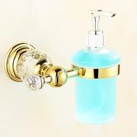 European Gold Plated Crystal Liquid Soap Dispenser Holder Bath Glass Bottle Liquid Perfume Holder Bathroom Ware Set