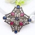 Señoras de La Manera linda Ahueca Hacia Fuera la Estrella de diamantes de Imitación Broches Broche Mujeres Paisley Hijab Turco Solapa Pines Bufanda Pavo Bijoux Regalo