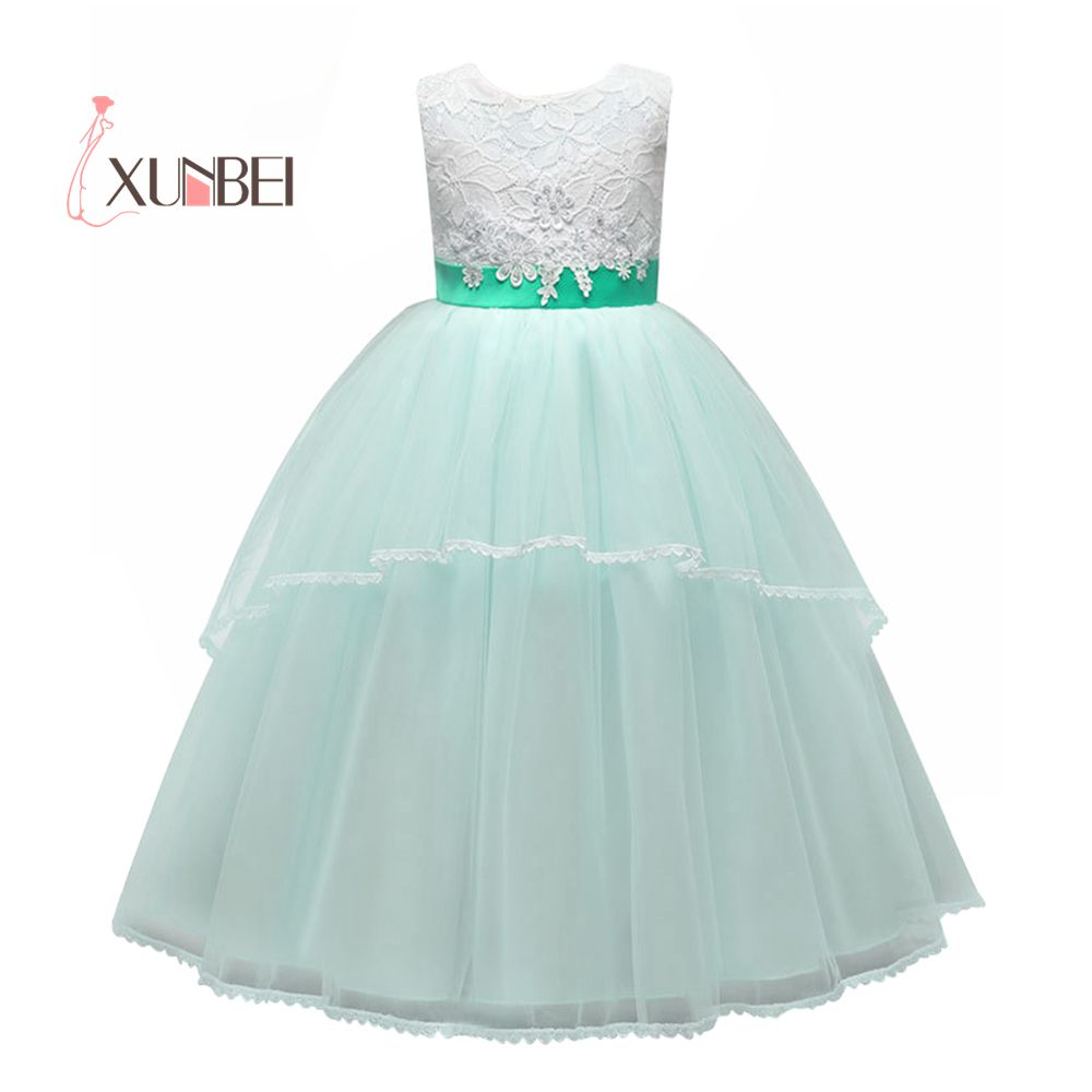 Princess Pink Mint Ball Gown Appliqued   Flower     Girl     Dresses   2019 Tulle   Girls   Pageant   Dresses   First Communion   Dresses