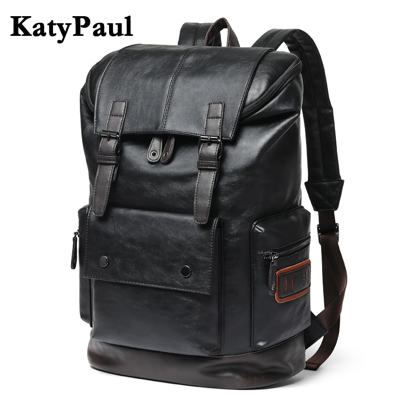 KatyPaul Brand Men's Leather High Quality Backpack Youth Travel Rucksack School Laptop Bags Male Business Shoulder Bag Mochila image