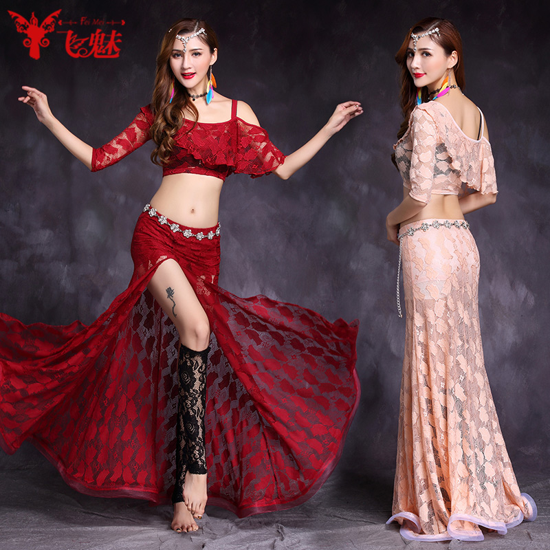 Sexy belly dance costume top skirt Socks 3pcs suit Sexy lace bag hip skirt suit