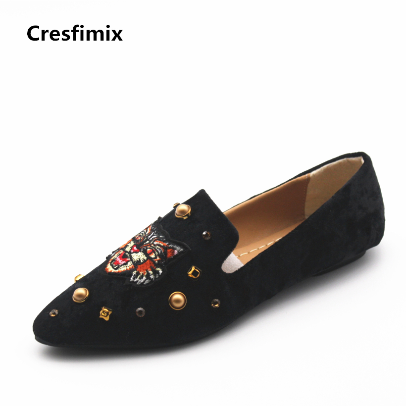 Cresfimix women cute spring & summer slip on flat shoes lady casual tiger flock flats zapatos de mujer female soft cool shoes cresfimix women cute black floral lace up shoes female soft and comfortable spring shoes lady cool summer flat shoes zapatos