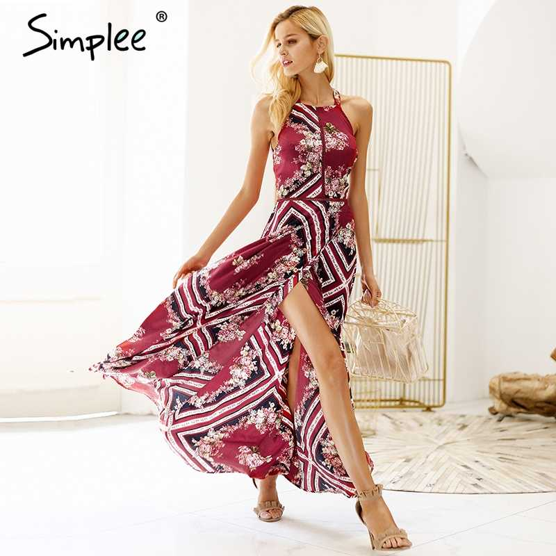 93f108f28c9 Simplee Sexy halter backless print dress women Eastic waist side slit boho  long dress 2018 Tie
