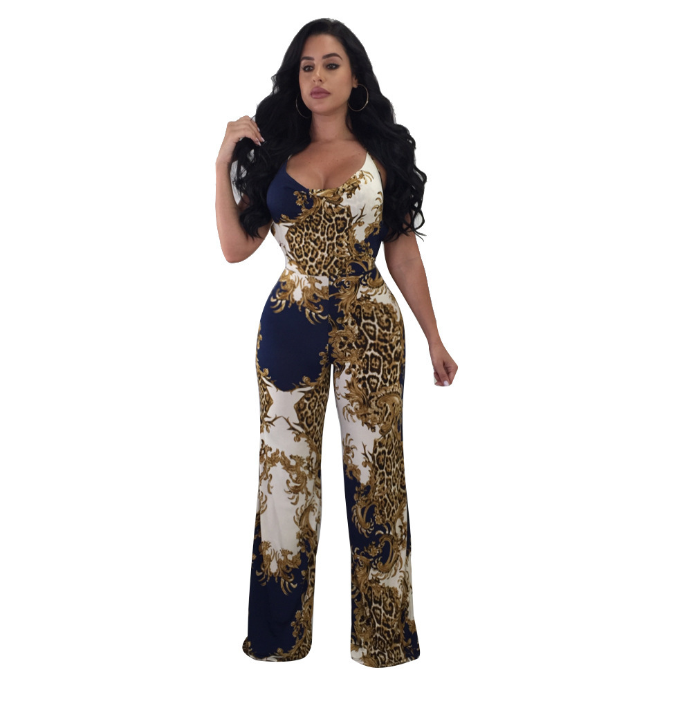 Leopard Jumpsuit Plus Size Women 3XL Big Large Summer Rompers Straight Jumpsuits Long Lady Casual Overalls V neck Sleeveless