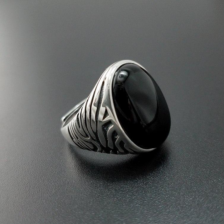 Одноцветное Серебро 925 натуральный черный оникс Камень Кольца Для мужчин большой широкие манжеты Группа 100% реального стерлингового серебр...