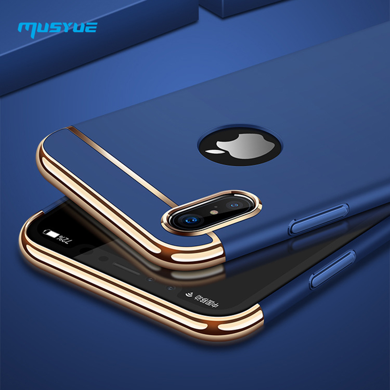 Musyue For iPhone X Case, Luxury Plating Hard Plastic 3 in 1 Hybrid Case For iPhone X 7 8 6 6s Plus Cases Phone Accessories