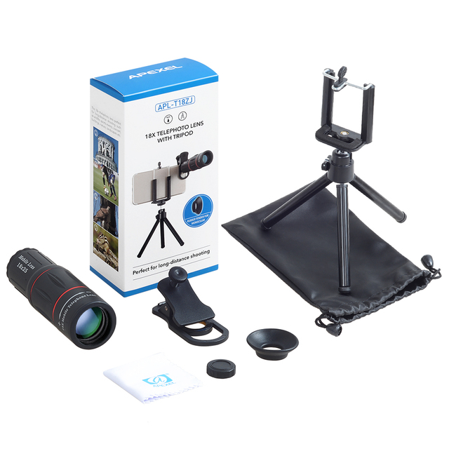 APEXEL 18X Telescope Zoom Mobile Phone Lens for iPhone Samsung Smartphones universal clip Telefon Camera Lens with tripod 18XTZJ 5