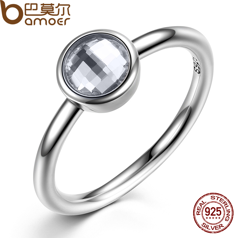 bamoer elegant glass 925 sterling silver rings poetic droplet clear cz finger ring for women fashion wedding jewelry pa7186 - Elegant Wedding Rings