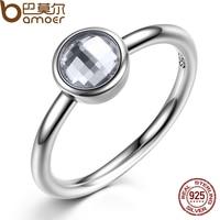 BAMOER Elegant Glass 925 Sterling Silver Rings Poetic Droplet Purple CZ Finger Ring For Women Fashion