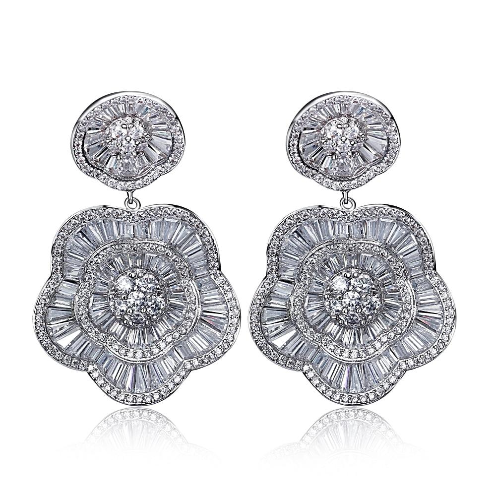 Fashion Hyperbole Drop Earrings Latest Elegant Lady Gold Color Clear Zirconia Jewelry For Brides Long Teardrop Big Earrings floral rhinestone teardrop earrings
