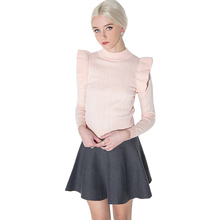 Sexy Pink Sweet Chic Female Sweater Autumn Casual Slim Ruffle Women Pullover Frill Ribbed Soft Basic Sweaters For Wholesale