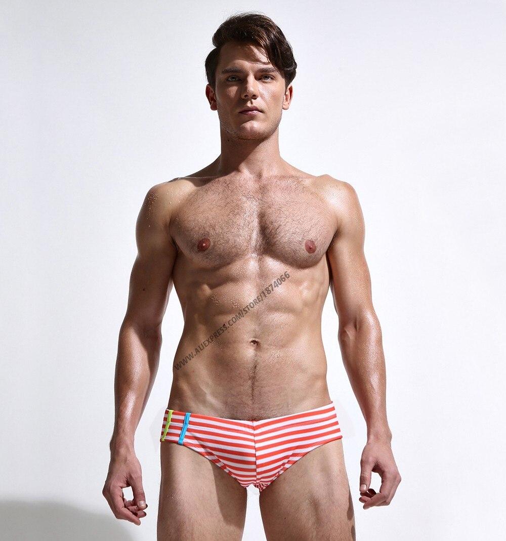 Новая летняя мужская одежда для плавания, спортивные мужские плавки, плавки с низкой посадкой, мужской купальник в полоску, мужской купальн... 20