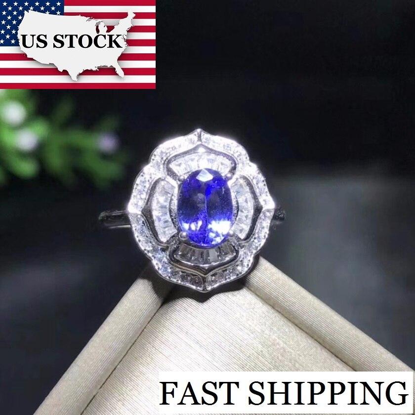 US STOCK Uloveido Blue Stone Tanzanite Gemstone Flower Ring 925 Sterling Silver Ring for Women Anniversary
