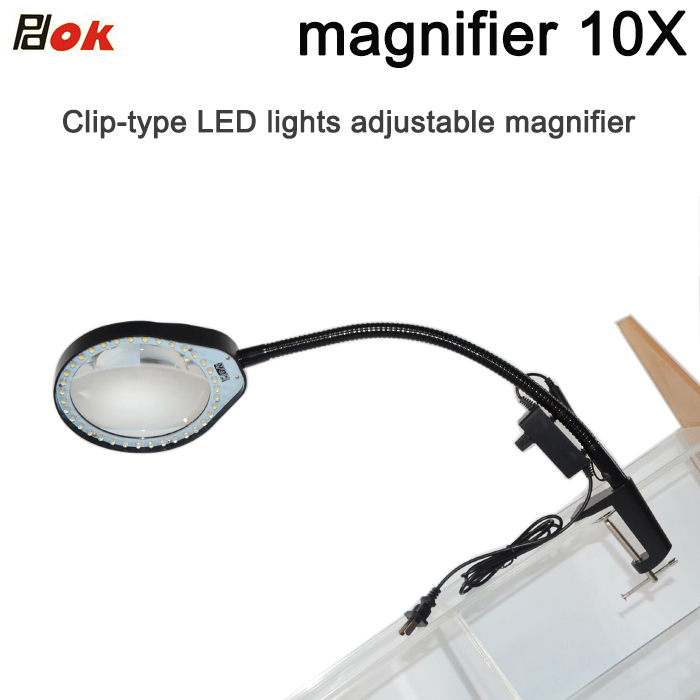 For reading repairing and inspection Desktop magnifier 10X magnifying glass table machine soft rod dimmable LED light magnifier for reading repairing and inspection desktop magnifier 10x magnifying glass table machine soft rod dimmable led light magnifier