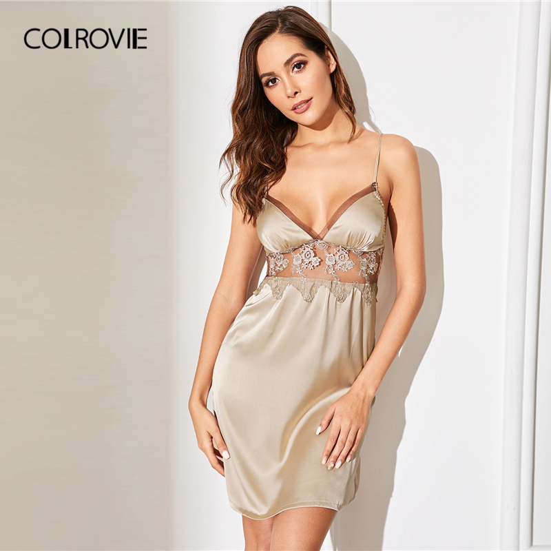 COLROVIE Champagne Floral Lace Mesh Insert Satin Cami Sexy Night Dress Women 2019 Sleeveless Sexy Sleepwear Female Nightgowns