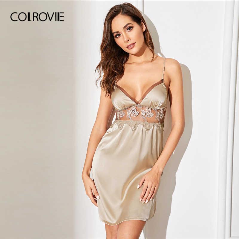 COLROVIE бокал для шампанского из цветочного кружева с сетчатыми вставками атласное платье на бретельках сексуальное ночное платье Для женщин 2019 без рукавов Сексуальная ночная рубашка, женские ночные рубашки для девочек