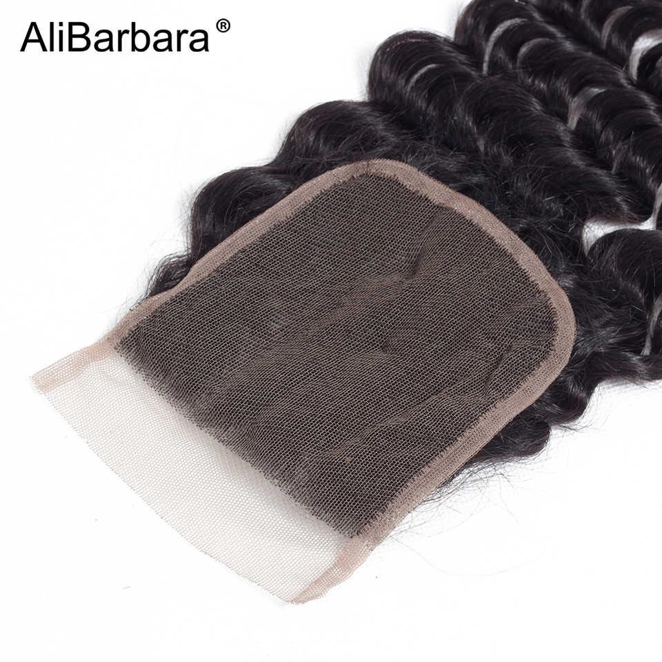 Alibbara волосы малазийские свободные глубокие человеческие волосы пучки с закрытием 5 шт. в партии 4X4 швейцарское кружево 1B Remy человеческие волосы переплетения наращивание