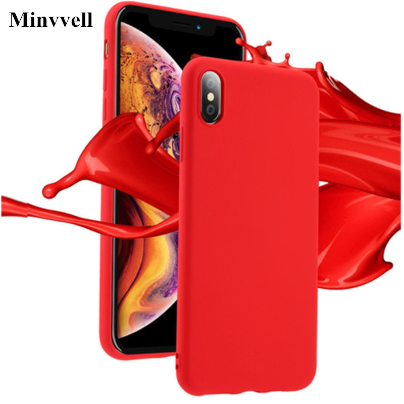 Liquid Silicone Case for iPhone 7 7plus 8 6 6s iPhone Xs Max Gel Rubber Phone Cover Protective Case for iPhone XR X XS 7 8 Coque