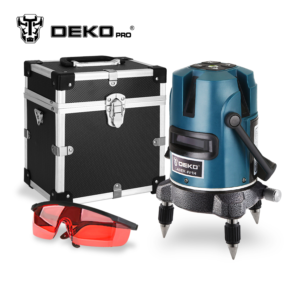 DEKOPRO 5 Lines 6 Points Laser Level 360 Vertical & Horizontal Rotary Cross Laser Line Leveling with Outdoor Mode quality mtian level laser 5 lines 6 points instrument levels 360 self rotary 635nm corss line lazer level tools fast delivery