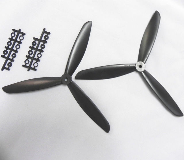 Three 3-Blade Propeller 1045 10*4.5 CW CCW black 3 blade Props for Quad Multicopter 2 PCS=1 Pair