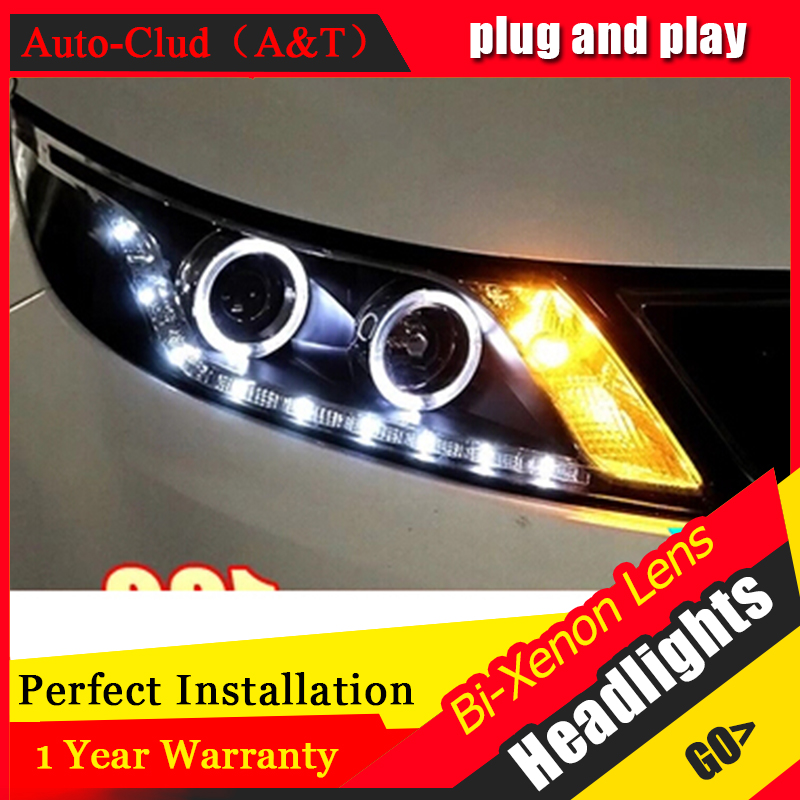 Auto Clud 2011 2014 For kia rio k2 headlights LED DRL parking lights tears eyes bi