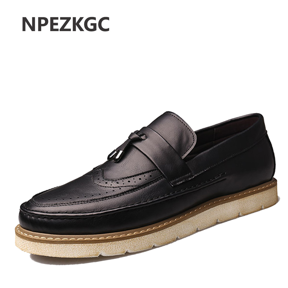 NPEZKGC New men Brogues casual Shoes Men Leather Men Oxfords Tassel British Vintage Brogues loafers Shoe