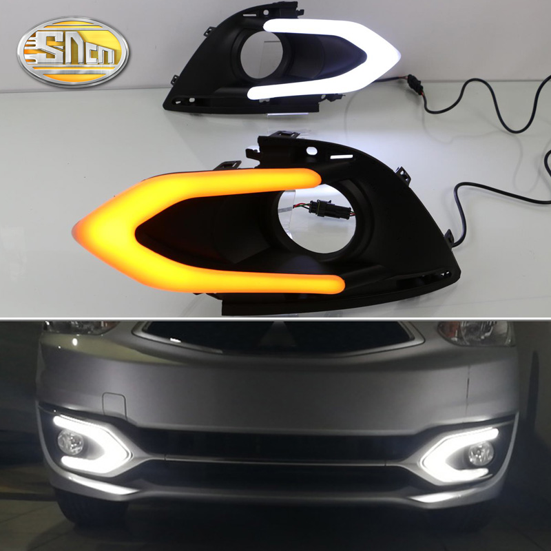 SNCN LED Daytime Running Light For Mitsubishi Mirage 2016 2017 2018 Car Accessories Waterproof ABS 12V