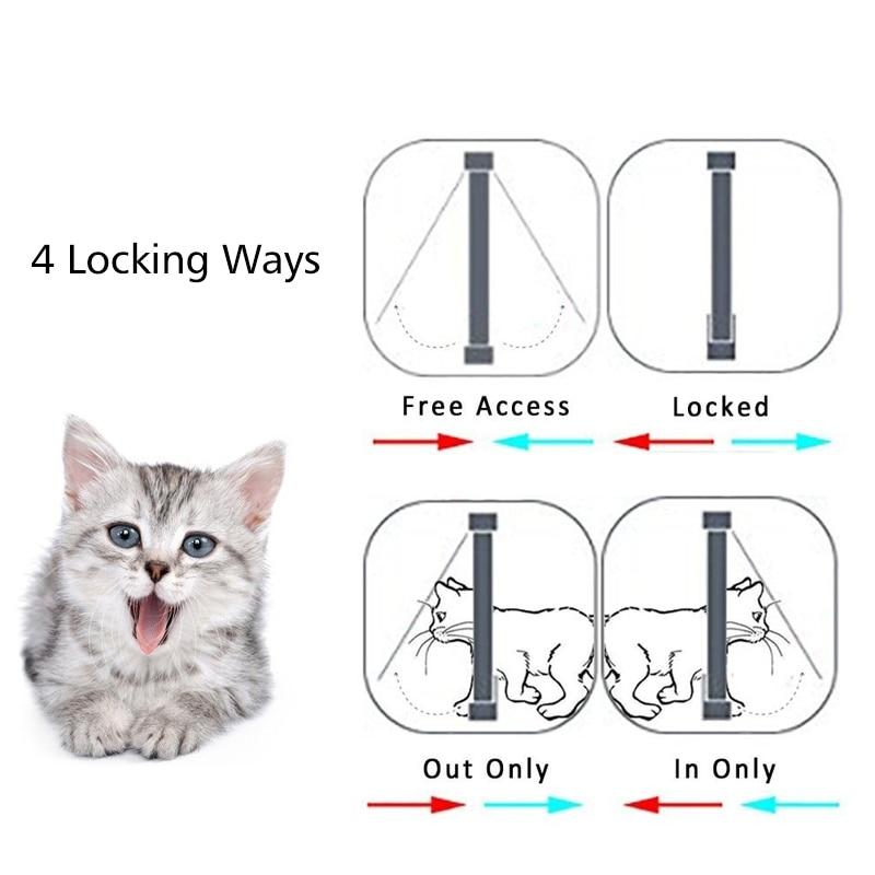 4 Way Safe Pet Flap Door - Cat Dog Intelligent Locking Gate
