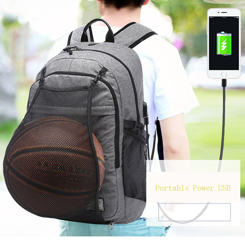 купить Multifunction Canvas Men Basketball Backpack School Bag For Teenager Boys Soccer Ball Pack Laptop Bag Football Net Gym Bags Male недорого