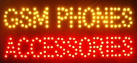 new led sign/GSM phones Accessories store neon light slogans indoor Plastic PVC frame Display 15.5X27.5 inch
