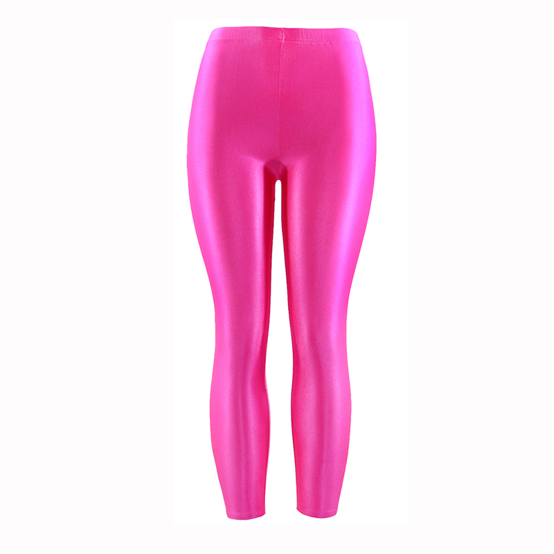 21 Colors Plus Size Fluorescent Color Women Leggings Elastic Leggings  Spandex Multicolor Shiny Glossy Leggins Trousers For Girl(China)