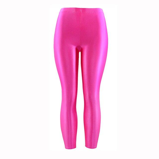 21 kolory Plus rozmiar fluorescencyjny kolor kobiet legginsy elastyczne legginsy Spandex Multicolor błyszczące błyszczące legginsy spodnie dla dziewczyny