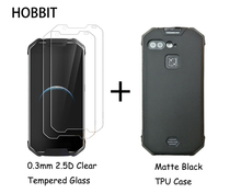 For AGM X2 Matte Black Soft Silicone TPU Back Cover Case 0.3MM 2.5D 9H Clear Tempered Glass Screen Protector for Agm x2