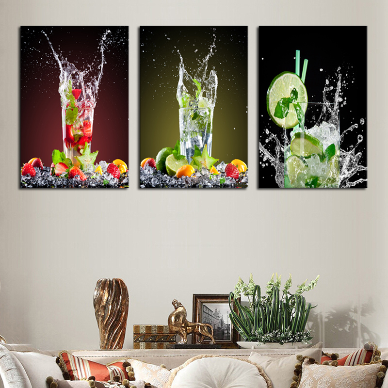 Spary Painted 3 Piece Modern Juice Picture Canvas Painting Decorate Milk Tea Shop Lemon Glass Drink