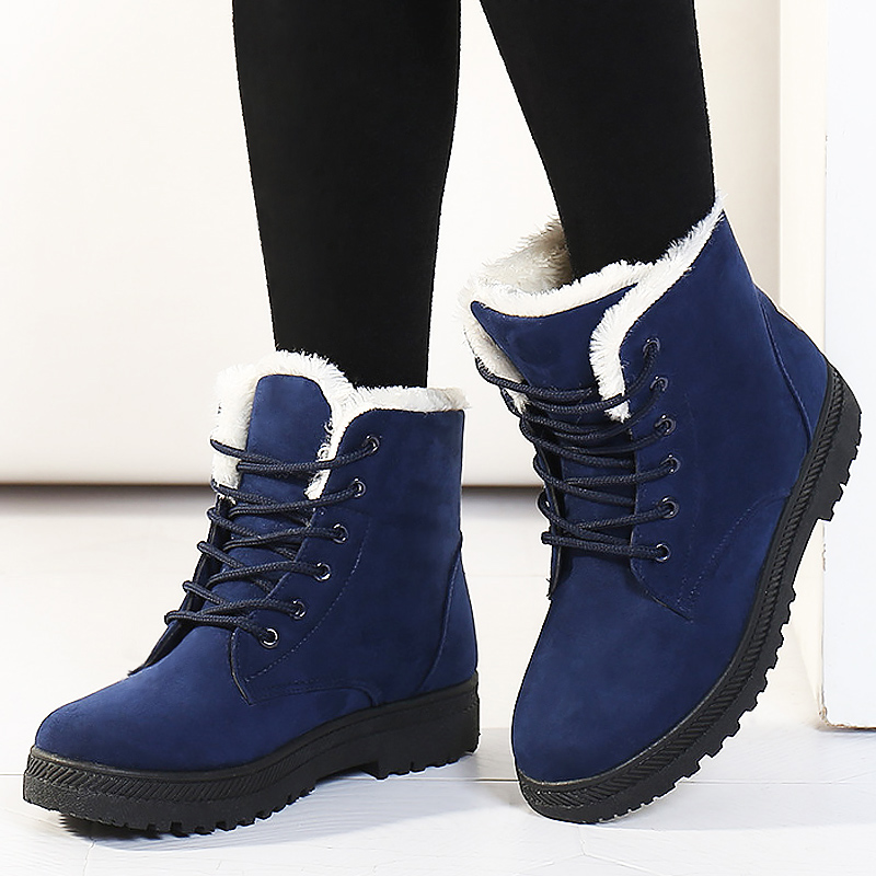 Women Snow Boots Winter Warm Big Size Boots for Women Lace Up Flat Shoes Woman Thick Fur Cotton Shoes Plus Size 35-44 WSH2461 alluring plus size keyhole neck flounced lace blouse for women