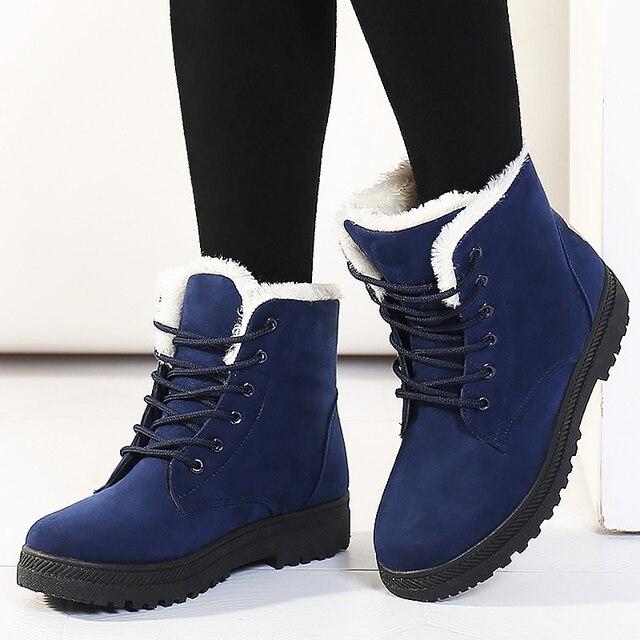 Women Snow Boots Winter Warm Big Size Boots for Women Lace Up Flat Shoes Woman Thick Fur Cotton Shoes Plus Size 35 44 WSH2461