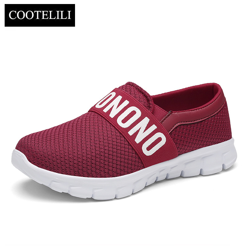 COOTELILI Women Sneakers Platform Casual Shoes Woman Flats Slip on Letter Loafers Ladies Black Gray Blue Red Plus Size 40 41 42 akexiya casual women loafers platform breathable slip on flats shoes woman floral lace ladies flat canvas shoes size plus 35 43