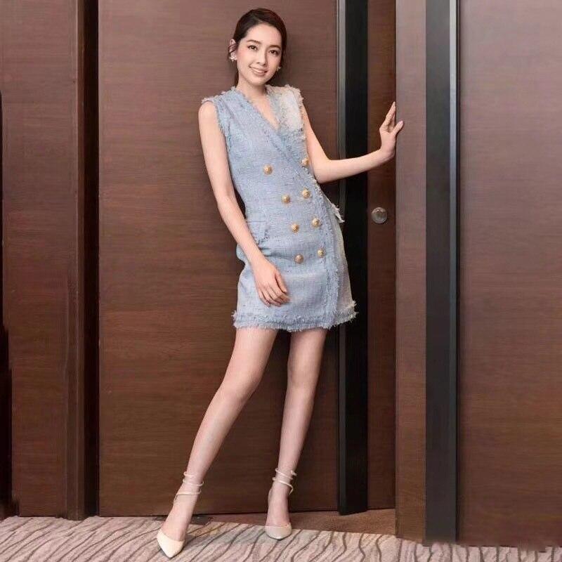 Femme 2019 Moulante Robes Mini V Dress Oxant Vêtements Womne Tweed Mode Sans Patchwork Gland Robe D'été Cou Manches Ol Blue Pour W29DIHeYbE