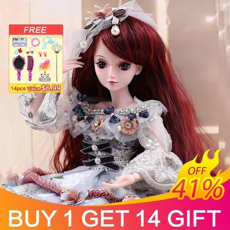 UCanaan 23.6 ''BJD SD 人形 19 とボールジョイントと服衣装かつらの毛メイク女の子のためのギフトと人形コレクション  グループ上の おもちゃ & ホビー からの 人形 の中 1