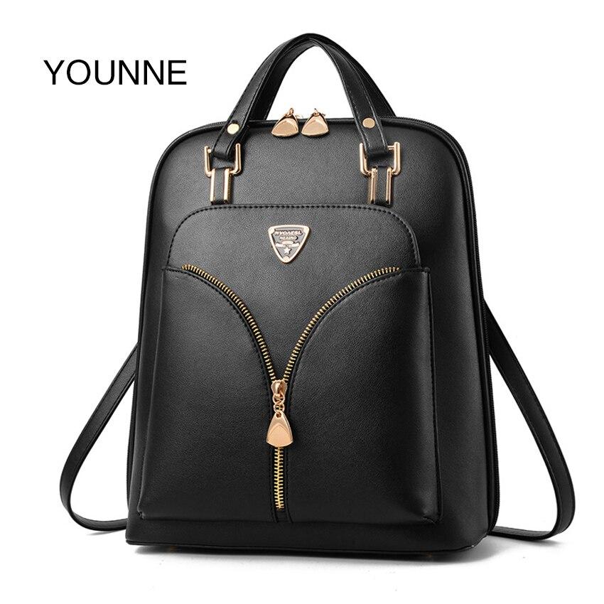 YOUNNE Luxury Leather Backpack Women Backpacks School Bags For Teenage Girls Mochila Feminina Bags For Women Bolsos