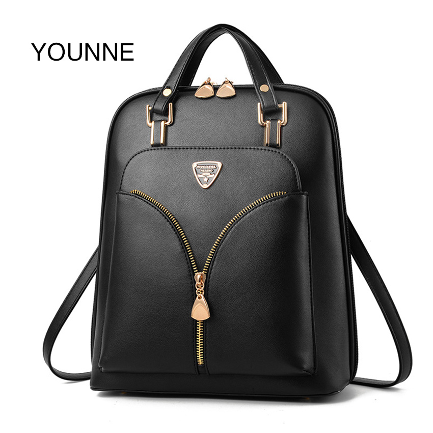 Younne Women Pu Backpack Female Simple Style Zipper Design Backpacks Lady Luxury Lock Shoulder Bag For Young Girl Schoolbag Bao