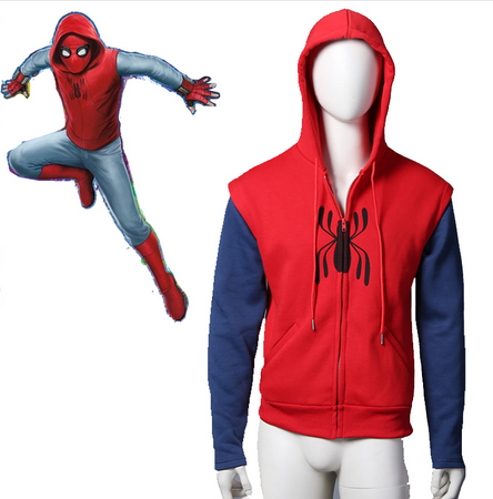 Человек-паук: Homecoming Толстовка Карнавальный Костюм хлопковый свитер мужская с капюшоном Питер парк Человек-паук пальто на молнии
