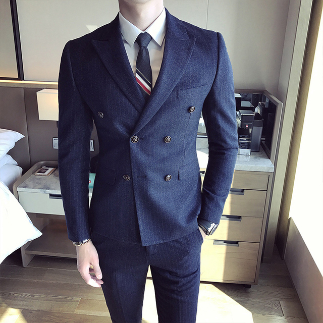 2017 Mens Italian Suits Prom Tuxedo Blue Men Double Breasted Suits ...