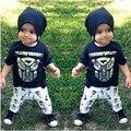 Roupa do bebé do verão roupa dos miúdos de ferro Man define t-shirt + terno de calças vestuário Set Lettle impresso roupas recém-nascido ternos do esporte